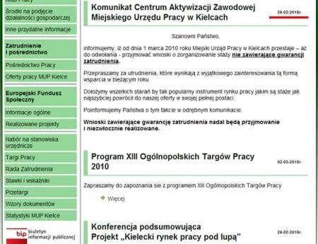 Komunikat MUP w Kielcach