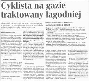 Złagodzenie przepisów dotyczących rowerzystów