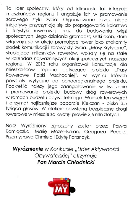 Laudacja Marcin Chłodnicki